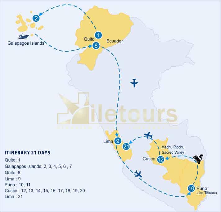 map lago titicaca machu picchu cruzeiro luxo nas ilhas galapagos 21 dias