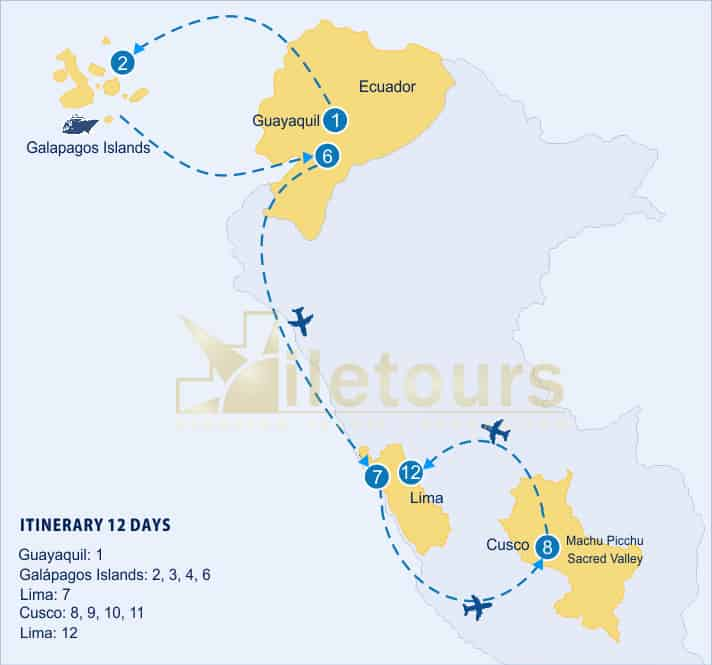map tours machu picchu galapagos islands 12 days 1 1