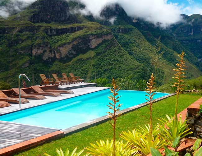 Gocta Lodge, pool overlooking the Gocta waterfall, 3-star hotel