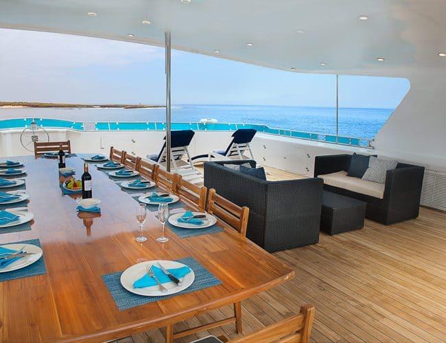 Cormorant galapagos cruises yacht luxury alfrescodining
