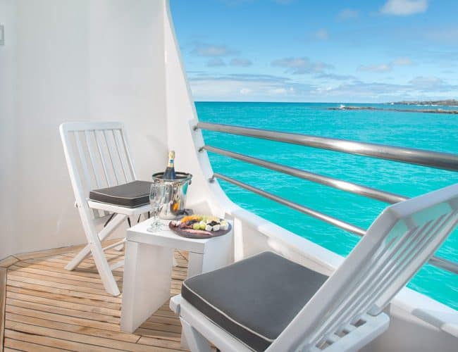 Cormorant galapagos cruises yacht luxury balcony