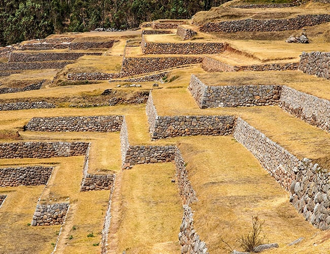 hikes to the agricultural terraces andean walls